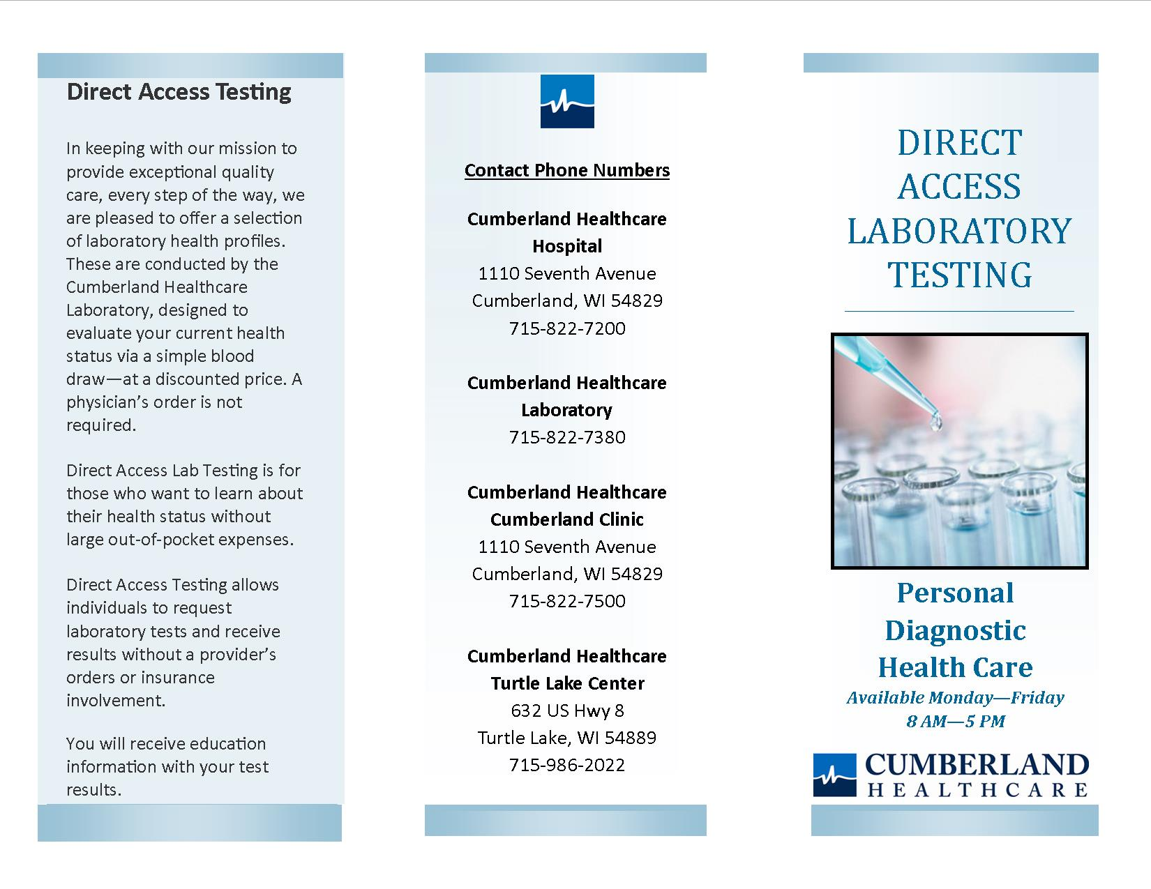 Direct access lab testing, screening, fees, lab orders